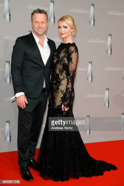 Jenke von Wilmsdorff and Mia Bergmann attend the German Television Award at Rheinterrasse on February 2 2017 in Duesseldorf Germany