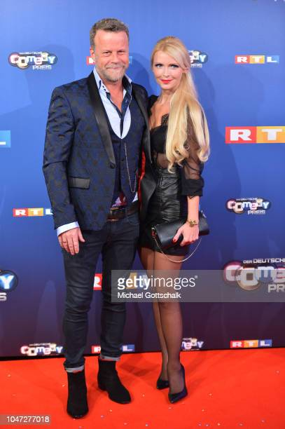 Jenke von Wilmsdorff and Mia Bergmann attend the red carpet at the 22nd Annual German Comedy Awards at Studio in Koeln Muehlheim on October 7 2018 in...