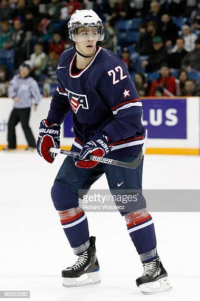 Jenks of Team USA skates during the 2010 IIHF World Junior Championship Tournament game against Team Latvia on December 29 2009 at the Credit Union...