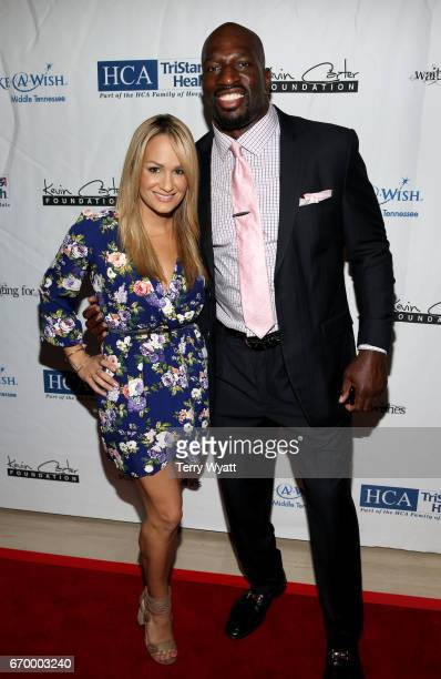 Jenn Brown and Titus O'Neil attend the 16th Annual Waiting for Wishes Celebrity Dinner Hosted by Kevin Carter Jay DeMarcus on April 18 2017 in...