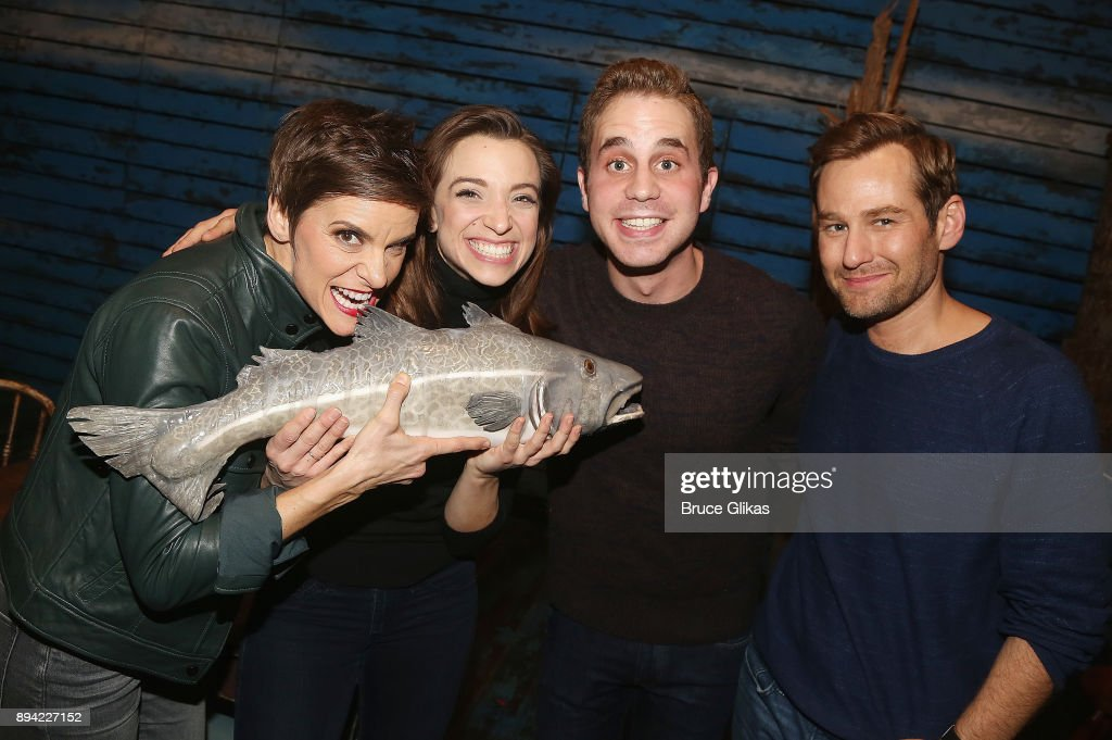Jenn Colella, Alex Finke, Ben Platt and Chad Kimball pose backstage at the hit musical 'Come From Away' on Broadway at The Schoenfeld Theater on December 16, 2017 in New York City.
