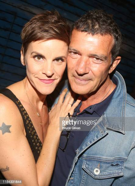 Jenn Colella and Antonio Banderas pose backstage at the hit musical Come From Away on Broadway at The Schoenfeld Theatre on June 6 2019 in New York...