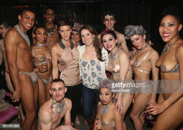 Jenn Colella and Chilina Kennedy pose with the cast at the Opening Night of Company XIV's Cinderella at Theatre XIV in Bushwick on March 12 2018 in...