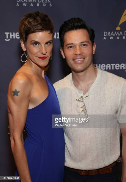 Jenn Colella and Jason Tam during the arrivals for the 2018 Drama Desk Awards at Town Hall on June 3 2018 in New York City