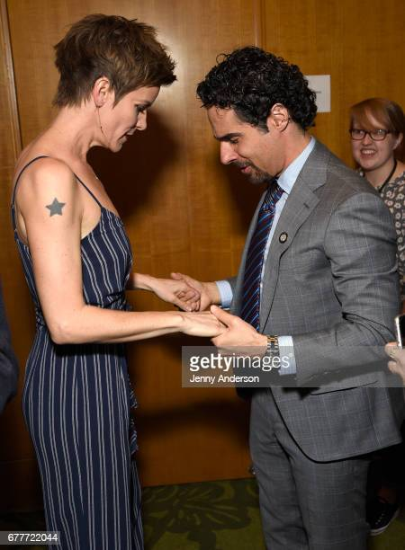 Jenn Colella and Musician Alex Lacamoire attend the 2017 Tony Awards Meet The Nominees Press Junket at the Sofitel New York on May 3 2017 in New York...