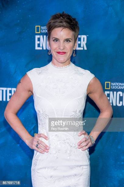 Jenn Colella attends the National Geographic Encounter Blue Carpet VIP preview celebration on October 4 2017 in New York City