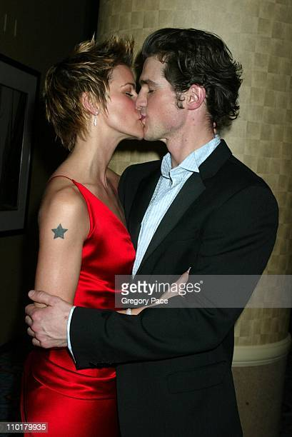 Jenn Colella who is the female lead in the show wearing a dress by Donna Karan and Matt Cavenaugh who is the male lead in the show