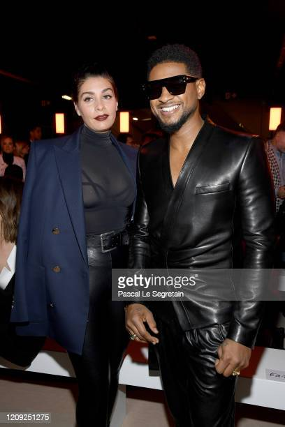 Jenn Goicoechea and Usher attend the Balmain show as part of the Paris Fashion Week Womenswear Fall/Winter 2020/2021 on February 28, 2020 in Paris,...