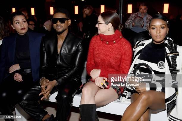 Jenn Goicoechea, Usher, Shailene Woodley and Janelle Monae attend the Balmain show as part of the Paris Fashion Week Womenswear Fall/Winter 2020/2021...