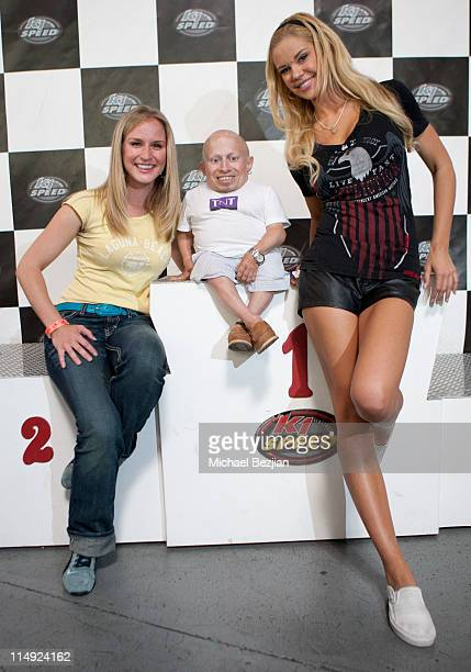 Jenn Gotzon Verne Troyer and Jessa Hinton attend Perfect Dezign Celebrity Go Kart Tournament to Benefit American Diabetes Association at K1 Speed on...