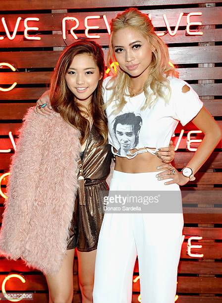 Jenn Im and DJ Amy Pham attend the REVOLVE fashion show benefiting Stand Up To Cancer on October 22 2015 in Los Angeles California