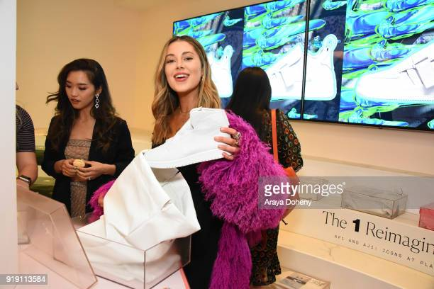 Jenn Im Jourdan Sloan and Stephanie Villa attend the Flaunt Magazine Dinner with Nike and Revolve on February 15 2018 in Los Angeles California