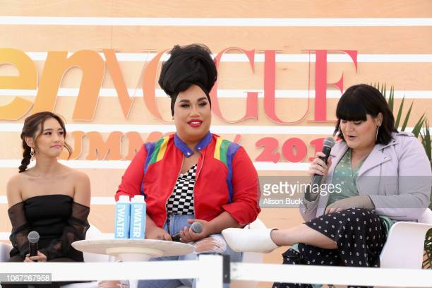 Jenn Im Patrick Starrr and Nicolette Mason speak onstage during the Social Cues Social Media Discussion keynote at The Teen Vogue Summit 2018 at...