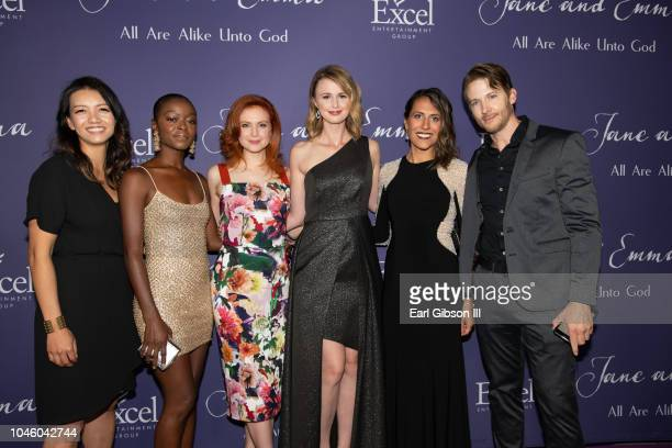 """Jenn Lee Smith, Danielle Deadwyler, Emily Goss, Madeline Jorgensen, Chantelle Squires and Brad Schmidt pose for a photo at the """"Jane & Emma"""" Special..."""