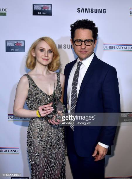 Jenn Murray and JJ Abrams attend the Oscar Wilde Awards 2020 at Bad Robot on February 06 2020 in Santa Monica California