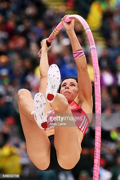 Jenn Suhr competes on her way to placing first in the Women's Pole Vault Final during the 2016 US Olympic Track Field Team Trials at Hayward Field on...