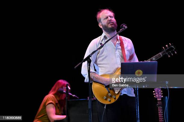 Jenn Wasner and Justin Vernon of Bon Iver perform on stage during the 2019 New Yorker Festival on October 13 2019 in New York City