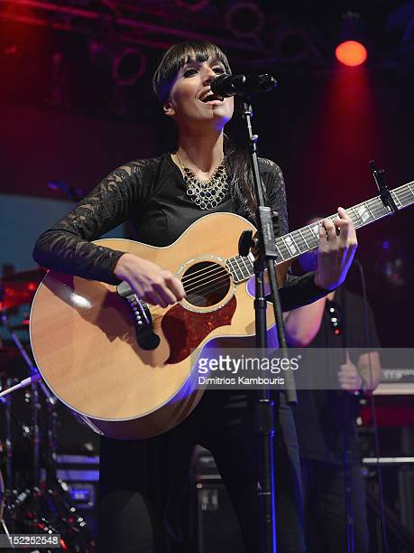 Jenna Andrews performs during the Nelly Furtado Spirit Indestructible Record Release Party at Highline Ballroom on September 17 2012 in New York City