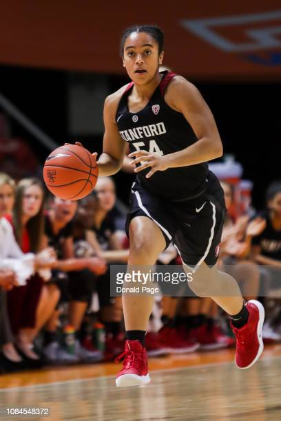 Jenna Brown of the Stanford Cardinal dribbles the ball during the game against the Tennessee Lady Volunteers at ThompsonBoling Arena on December 18...