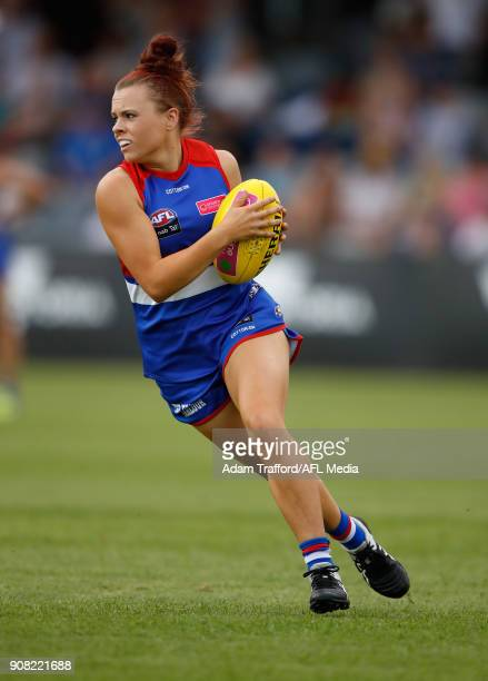 Jenna Bruton of the Bulldogs in action during the 2018 AFLW Practice match between the Western Bulldogs and the Carlton Blues at Mars Stadium...