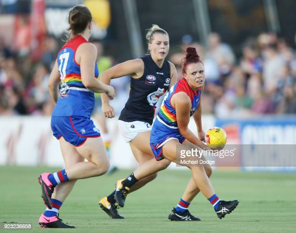 Jenna Bruton of the Bulldogs looks upfield during the round four AFLW match between the Western Bulldogs and the Carlton Blues at Whitten Oval on...