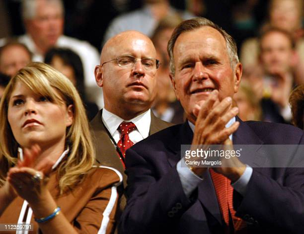 Jenna Bush and George H W Bush during 2004 Republican National Convention Day 2 Inside at Madison Square Garden in New York City New York United...