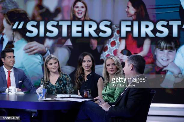 Jenna Bush Hager and Barbara Bush join the hosts of the The Five Jesse Watters Dana Perino and Greg Gutfeld at Fox News Studios on November 13 2017...