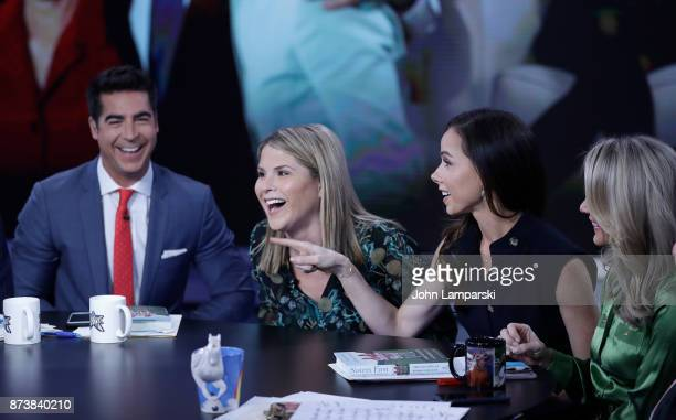 Jenna Bush Hager and Barbara Bush join the hosts of the The Five Jesse Watters and Dana Perino at Fox News Studios on November 13 2017 in New York...