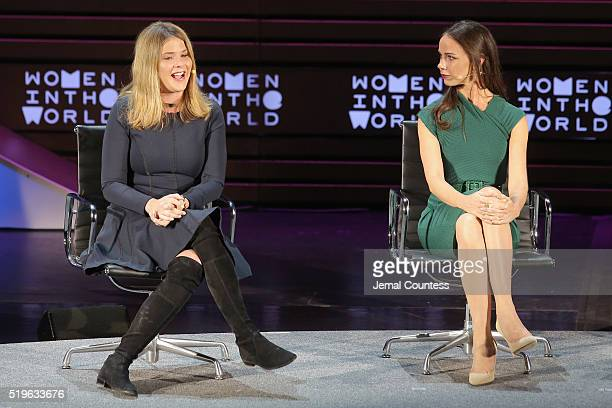 Jenna Bush Hager and Barbara Bush Jr speak onstage at Mother/Daughter Dynasty Two Generations of the Bush Family during Tina Brown's 7th Annual Women...