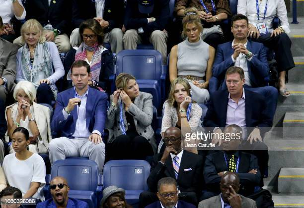 Jenna Bush Hager and husband Henry Hager Savannah Guthrie and Michael Feldman above them right Ryan Seacrest and Shayna Taylor attend the men's final...