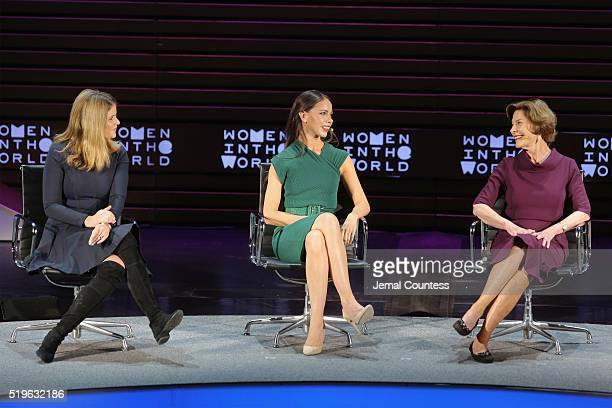 Jenna Bush Hager Barbara Bush Jr and former First Lady Laura Bush speak onstage at Mother/Daughter Dynasty Two Generations of the Bush Family during...