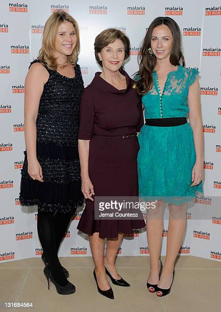 Jenna Bush Hager Former First Lady Laura W Bush and CEO and cofounder of Global Health Corps Barbara Bush pose for a photo during the Malaria No More...