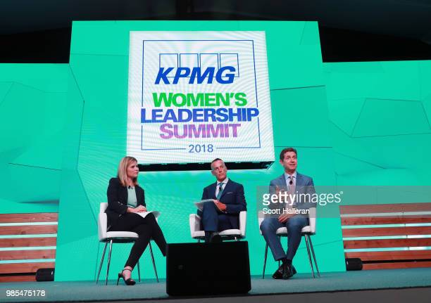 Jenna Bush Hager of NBC Eric Foss CEO of Aramark and Alex Gorsky CEO of Johnson Johnson speak on stage during the KPMG Women's Leadership Summit...