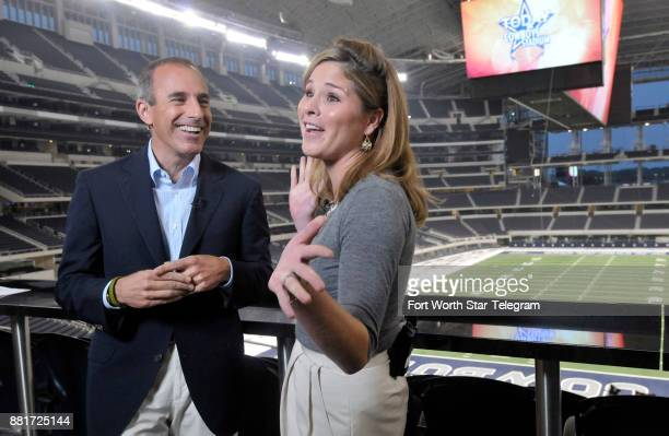 Jenna Bush Hager right shares a laugh with Today Show host Matt Lauer as she makes her debut broadcast live from the new Cowboys Stadium Friday...