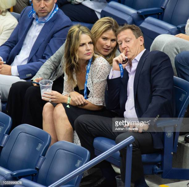 Jenna Bush Hager Savannah Gutherie Michael Feldman at Day 14 of the US Open held at the USTA Tennis Center on September 9 2018 in New York City
