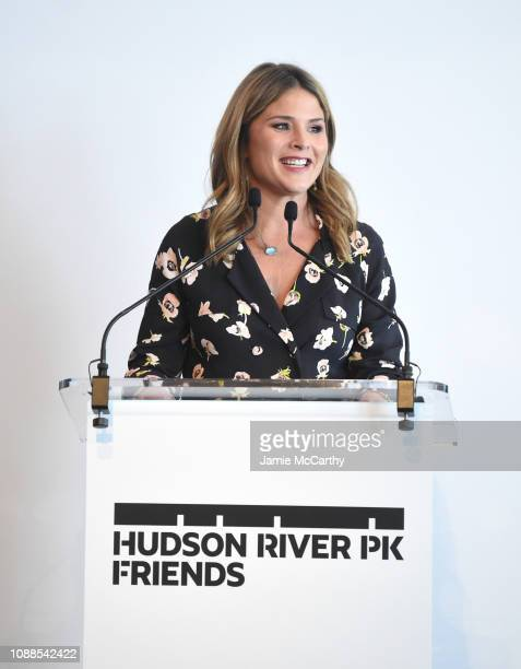 Jenna Bush Hager speaks on stage as she attends Hudson River Park Friends Playground Committee Fourth Annual Luncheon at Current at Chelsea Piers on...