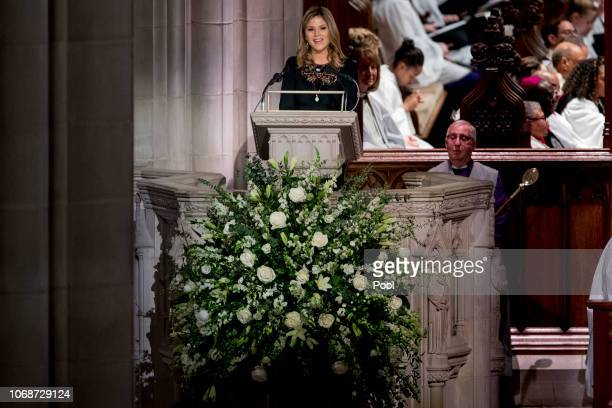 Jenna Bush Hager the daughter of former President George Bush speaks during the State Funeral for former President George HW Bush at the National...