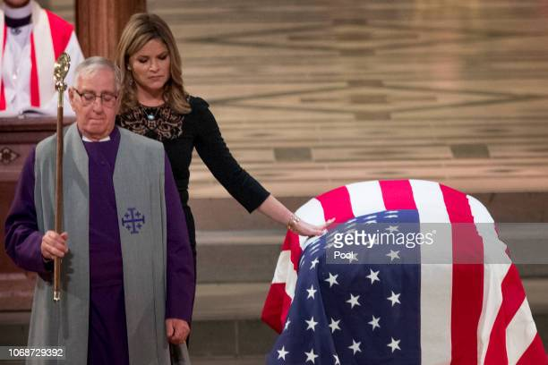 Jenna Bush Hager the daughter of former President George Bush touches the casket of former President George HW Bush after speaking at his State...