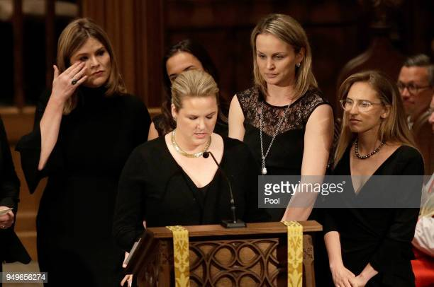 Jenna Bush left wipes away tears as granddaughters gather to speak during a funeral service for former first lady Barbara Bush at St Martin's...
