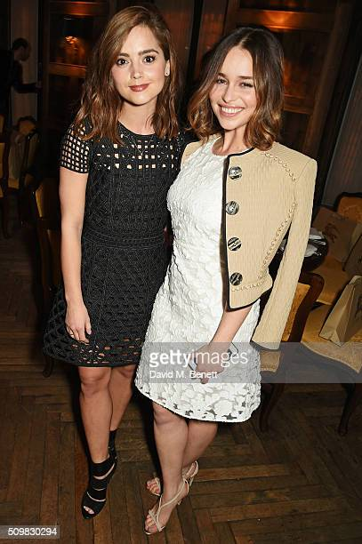 Jenna Coleman and Emilia Clarke attend Harvey Weinstein's preBAFTA dinner in partnership with Burberry and GREY GOOSE at Little House Mayfair on...