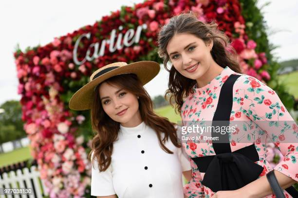 Jenna Coleman and guest attend the Cartier Queen's Cup Polo at Guards Polo Club on June 17 2018 in Egham England