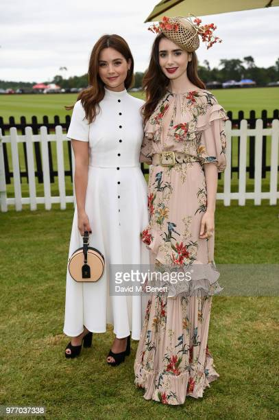 Jenna Coleman and Lily Collins attend the Cartier Queen's Cup Polo at Guards Polo Club on June 17 2018 in Egham England