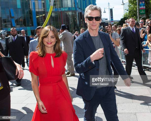 Jenna Coleman and Peter Capaldi attend the Cardiff premiere of 'Doctor Who' at St David's Hall on August 7 2014 in Cardiff Wales