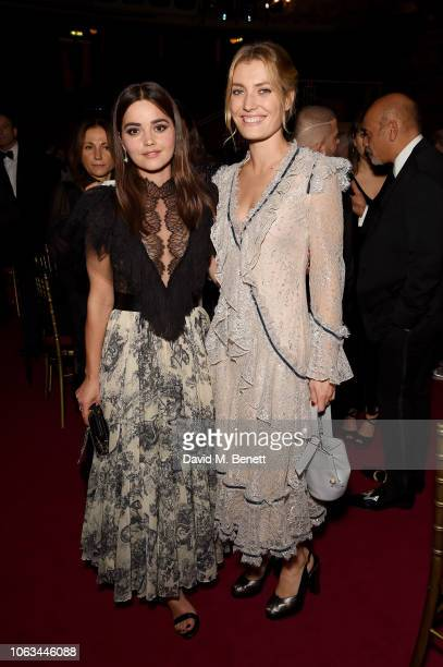 Jenna Coleman and Sally Oliver attend The 64th Evening Standard Theatre Awards after party at the Theatre Royal Drury Lane on November 18 2018 in...