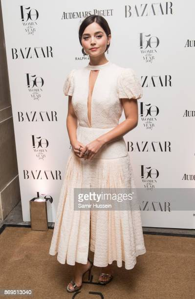 Jenna Coleman arrives at the Harper's Bazaar Woman Of The Year Awards held at Claridges Hotel on November 2 2017 in London England