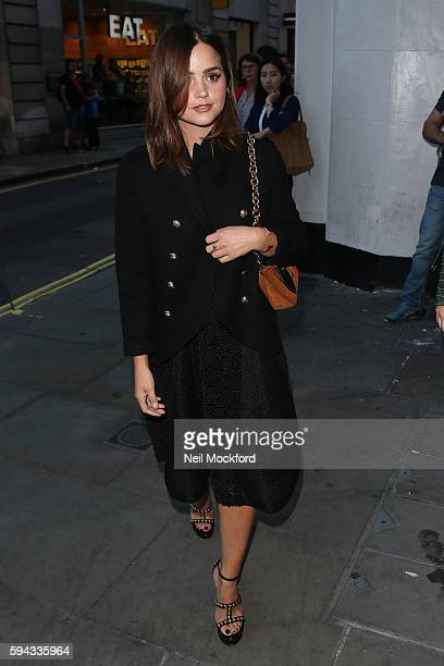 Jenna Coleman arriving at My Burberry Black Launch Party on August 22, 2016 in London, England.