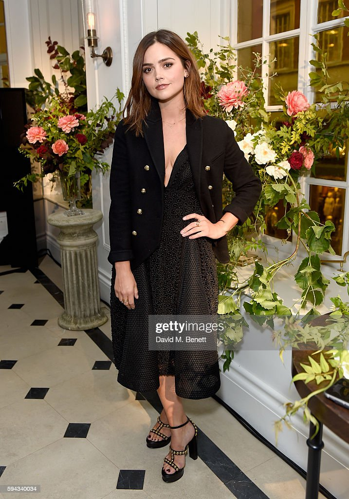 Jenna Coleman attends an event hosted by Lily James to celebrate the launch of My Burberry Black at Burberry's all day cafe Thomas's on August 22, 2016 in London, England.