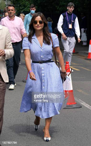 Jenna Coleman attends day 11 of the Wimbledon Tennis Championships at the All England Lawn Tennis and Croquet Club on July 09, 2021 in London,...