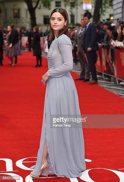 """Jenna Coleman attends the European film premiere """"Me Before You"""" at The Curzon Mayfair on May 25, 2016 in London, England."""