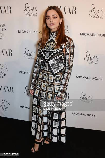 Jenna Coleman attends the Harper's Bazaar Women Of The Year Awards 2018 in partnership with Michael Kors and MercedesBenz at Claridge's Hotel on...